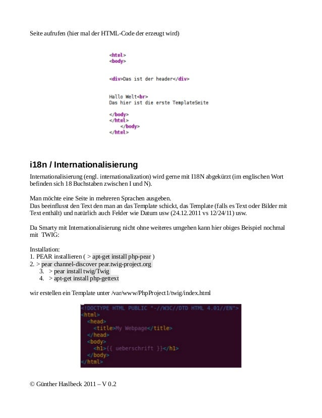 Seite aufrufen (hier mal der HTML-Code der erzeugt wird)i18n / InternationalisierungInternationalisierung (engl. internati...