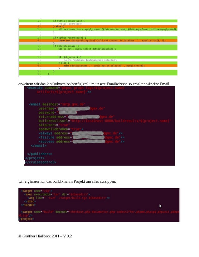 erweitern wir das /opt/subversion/config.xml um unsere Emailadresse so erhalten wir eine Emailwir ergänzen nun das build.x...