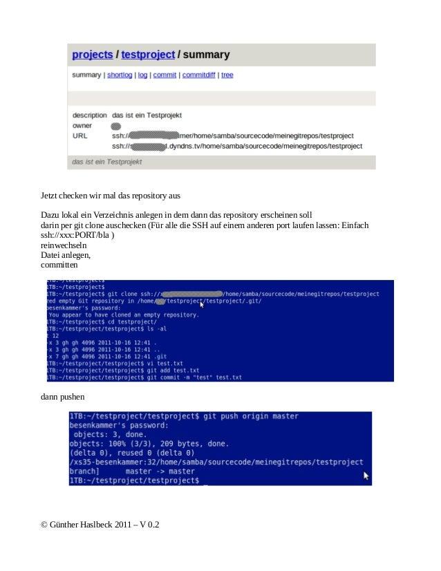 Jetzt checken wir mal das repository ausDazu lokal ein Verzeichnis anlegen in dem dann das repository erscheinen solldarin...