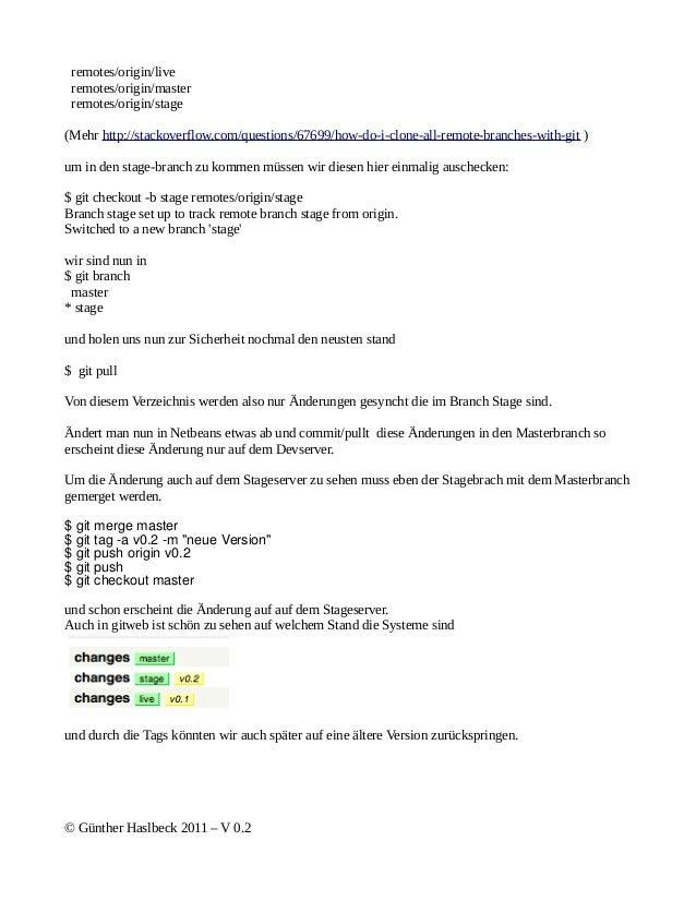 remotes/origin/live remotes/origin/master remotes/origin/stage(Mehr http://stackoverflow.com/questions/67699/how-do-i-clon...