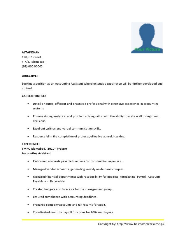 best accounting resume sample altaf khan 120 67 street f 74 islamabad - Accounts Resume Sample