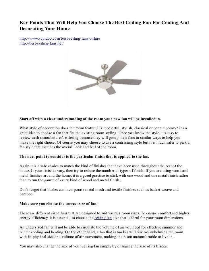 Key Points That Will Help You Choose The Best Ceiling Fan For Cooling Anddecorating Your Home