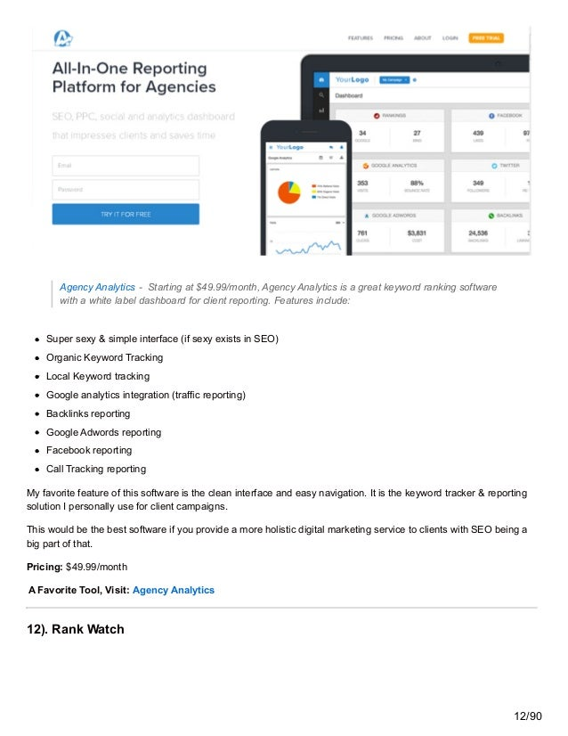 Agency Analytics - Starting at $49.99/month, Agency Analytics is a great keyword ranking software with a white label dashb...
