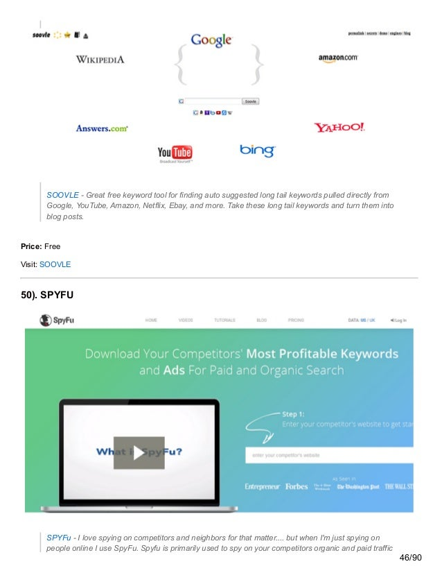 SOOVLE - Great free keyword tool for finding auto suggested long tail keywords pulled directly from Google, YouTube, Amazo...