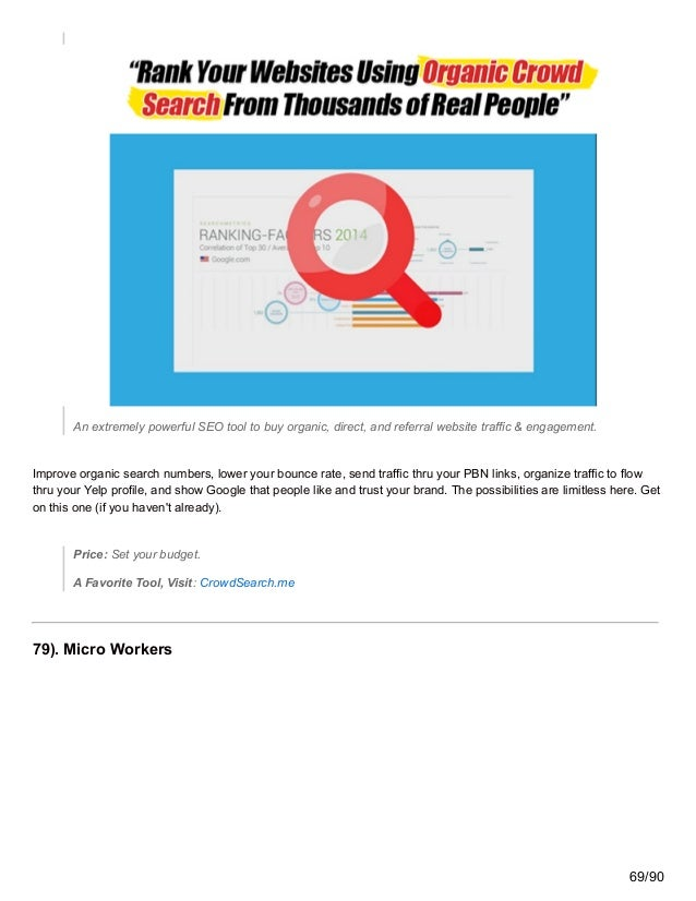 An extremely powerful SEO tool to buy organic, direct, and referral website traffic & engagement. Improve organic search n...