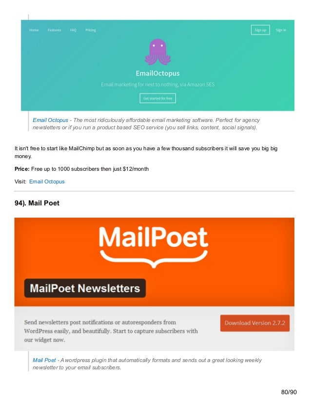 Email Octopus - The most ridiculously affordable email marketing software. Perfect for agency newsletters or if you run a ...