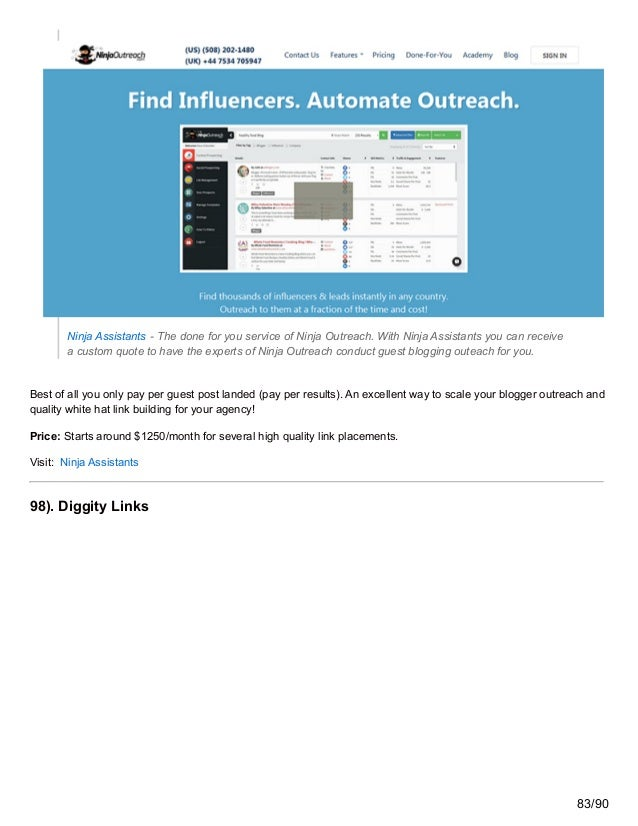 Ninja Assistants - The done for you service of Ninja Outreach. With Ninja Assistants you can receive a custom quote to hav...