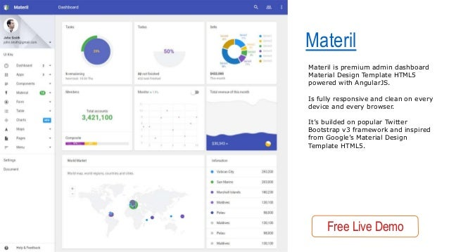 Best HTML Material Design Admin Dashboards Templates - Google design templates