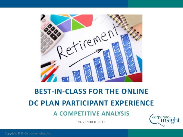 BEST-IN-CLASS FOR THE ONLINE DC PLAN PARTICIPANT EXPERIENCE A COMPETITIVE ANALYSIS NOVEMBER 2013 Copyright 2013 Corporate ...