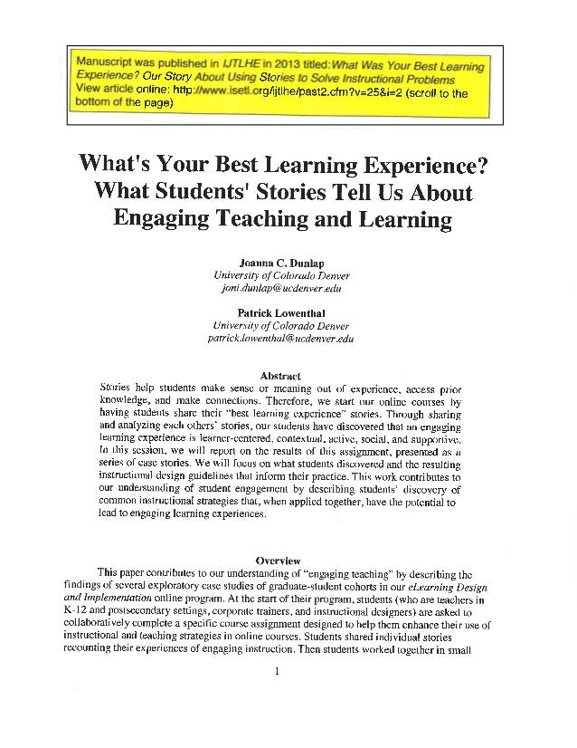 What's your best learning experience? What students' stories tell us about engaging teaching and learning