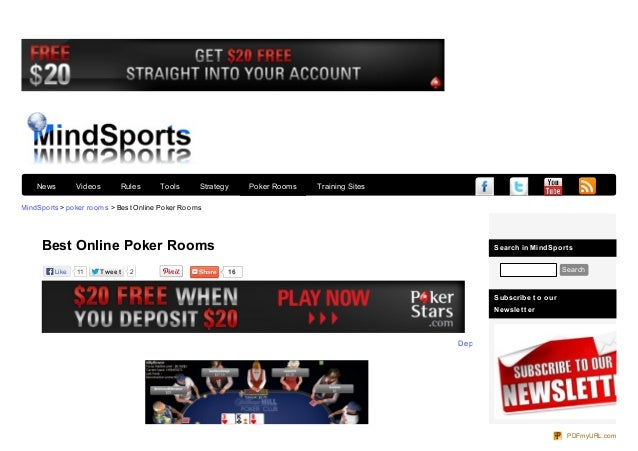 Search in MindSport s Search Subscribe t o our Newslet t er MindSports > poker rooms > Best Online Poker Rooms Twe e tTwe ...