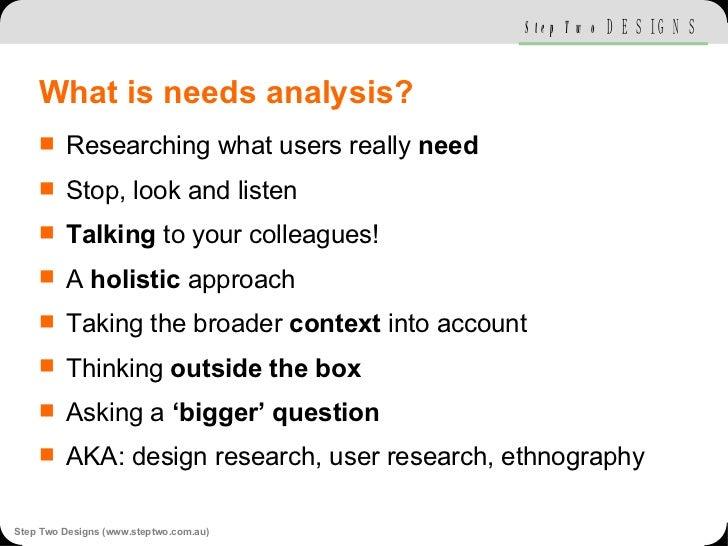 What is needs analysis? <ul><li>Researching what users really  need </li></ul><ul><li>Stop, look and listen </li></ul><ul>...