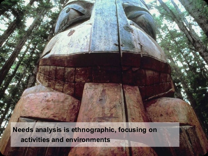 Needs analysis is ethnographic, focusing on activities and environments