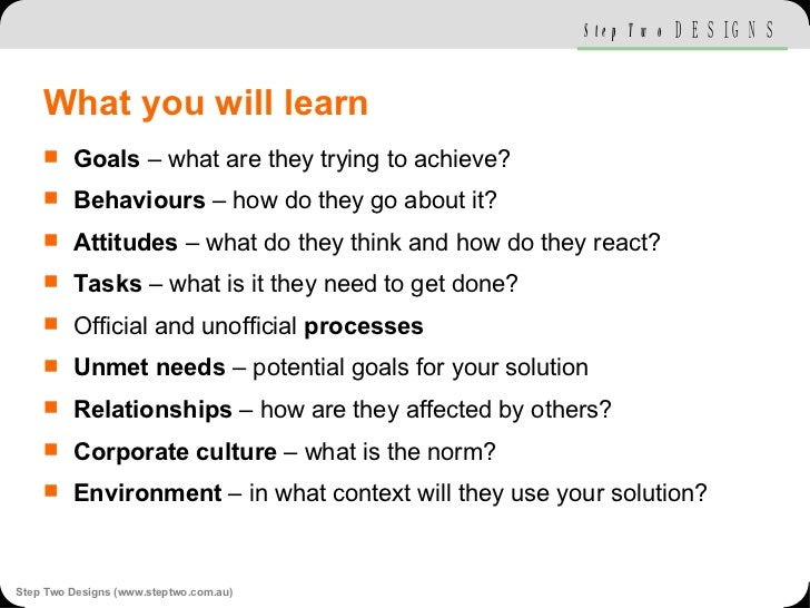 What you will learn <ul><li>Goals  – what are they trying to achieve? </li></ul><ul><li>Behaviours  – how do they go about...