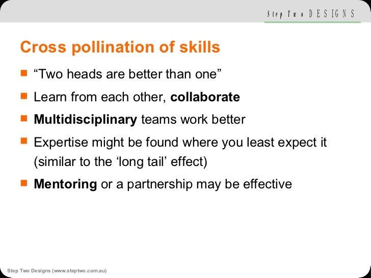 "Cross pollination of skills <ul><li>""Two heads are better than one"" </li></ul><ul><li>Learn from each other,  collaborate ..."