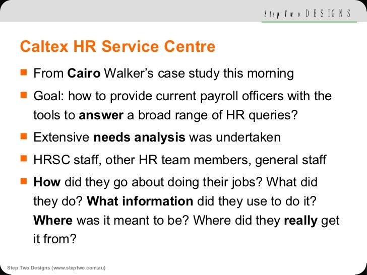 Caltex HR Service Centre <ul><li>From  Cairo  Walker's case study this morning </li></ul><ul><li>Goal: how to provide curr...