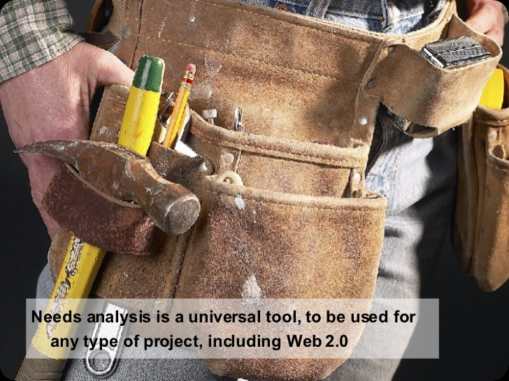 Needs analysis is a universal tool, to be used for any type of project, including Web 2.0