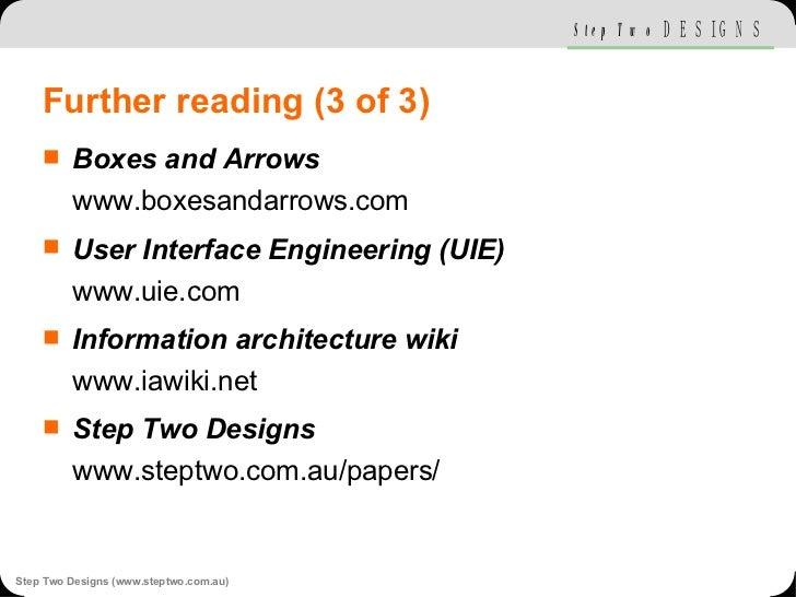 Further reading (3 of 3) <ul><li>Boxes and Arrows www.boxesandarrows.com </li></ul><ul><li>User Interface Engineering (UIE...