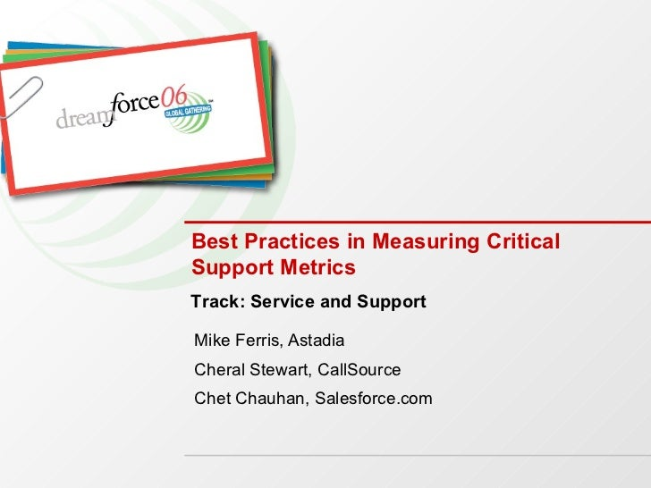 Best Practices in Measuring Critical Support Metrics Mike Ferris, Astadia  Cheral Stewart, CallSource Chet Chauhan, Salesf...