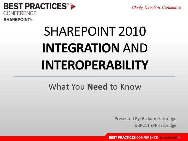 SharePoint 2010 Integration and Interoperability<br />What You Need to Know<br />Presented By: Richard Harbridge<br />#BPC...