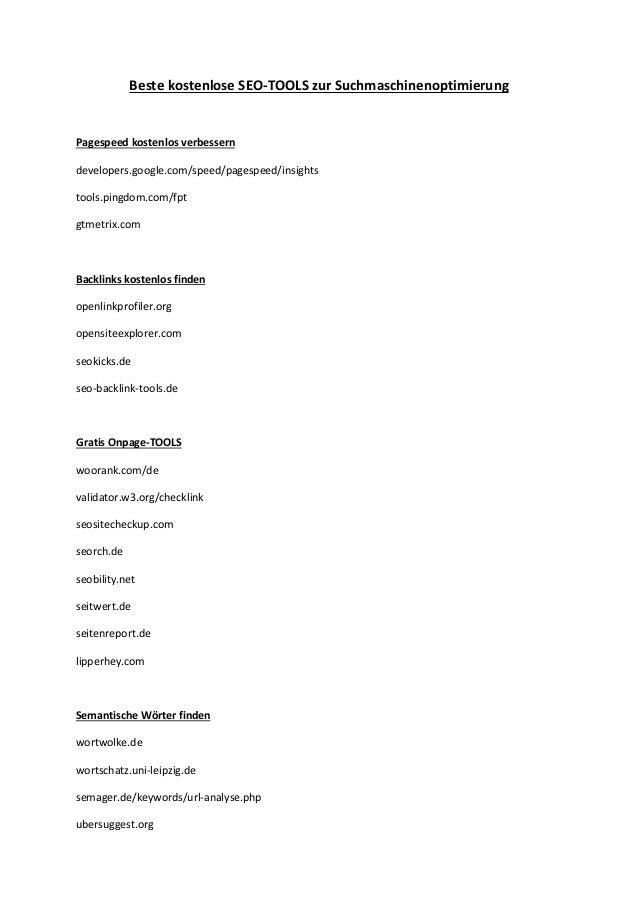 Beste kostenlose SEO-TOOLS zur Suchmaschinenoptimierung  Pagespeed kostenlos verbessern  developers.google.com/speed/pages...