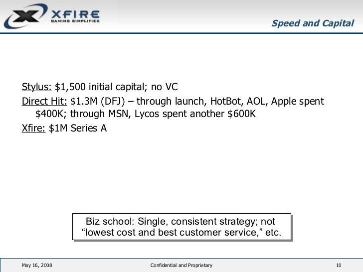 Speed and Capital <ul><li>Stylus:  $1,500 initial capital; no VC </li></ul><ul><li>Direct Hit:  $1.3M (DFJ) – through laun...
