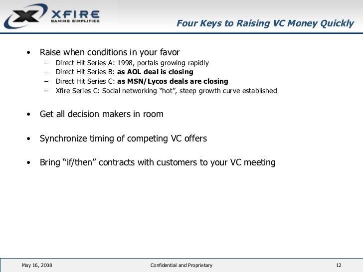 Four Keys to Raising VC Money Quickly <ul><li>Raise when conditions in your favor  </li></ul><ul><ul><li>Direct Hit Series...