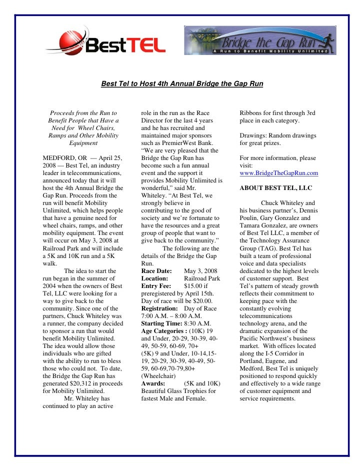 Best Tel to Host 4th Annual Bridge the Gap Run      Proceeds from the Run to         role in the run as the Race       Rib...