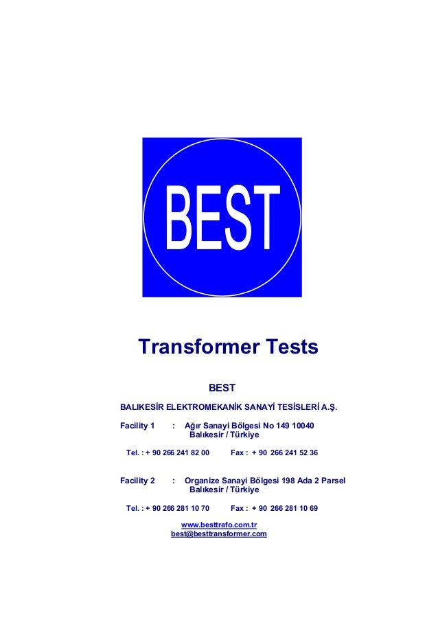 Best Transformer Test Procedures En