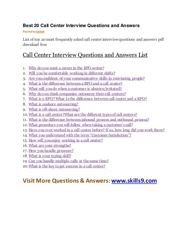 Best 20 call center interview questions and answers