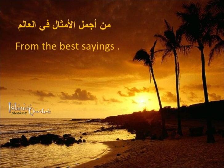 من أجمل الأمثال في العالم From the best sayings .