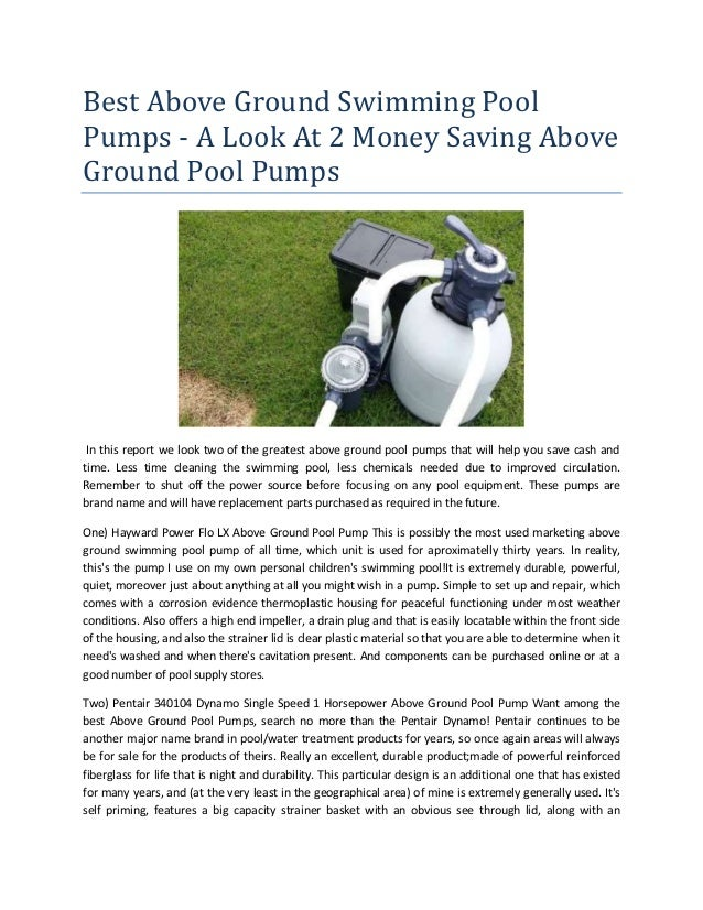 Best above ground swimming pool pumps a look at 2 money ...