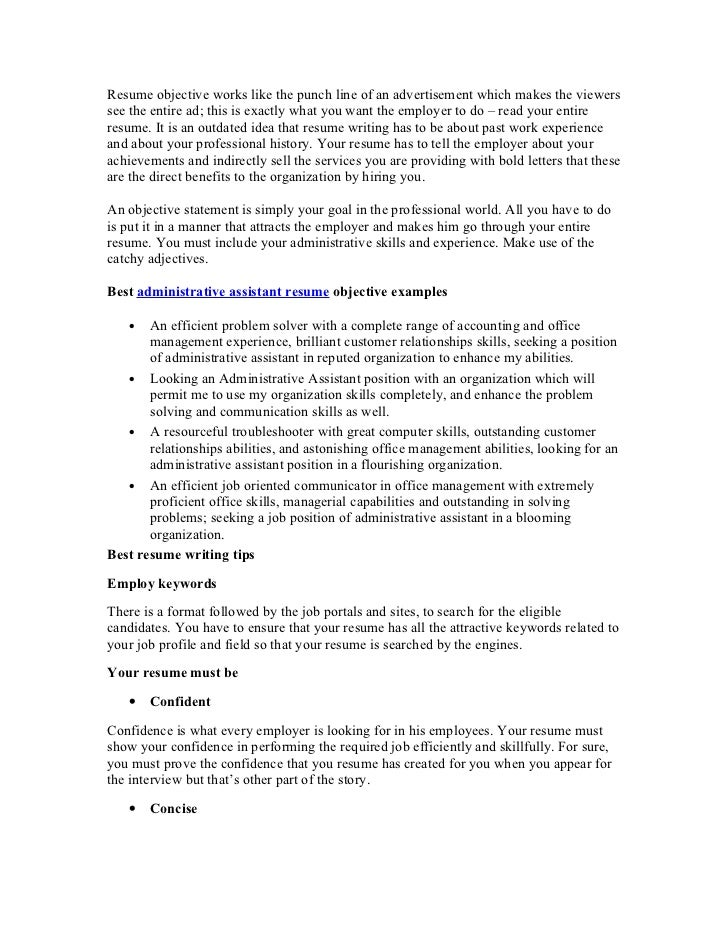 Best Administrative Assistant Resume Objective Article1. Resume Objective  Works Like The Punch Line Of An Advertisement Which Makes The Viewerssee  The ...  Best Administrative Assistant Resume