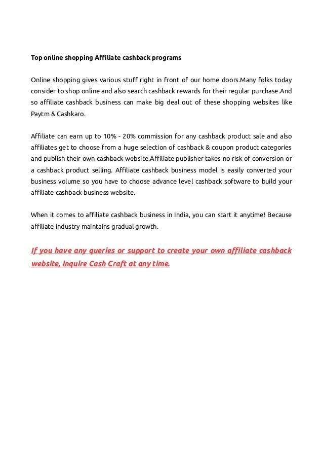 Best Affiliate Cashback Business Model In India Cash Craft