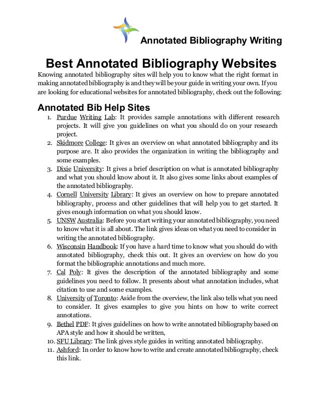 Annotated bibliography for website apa