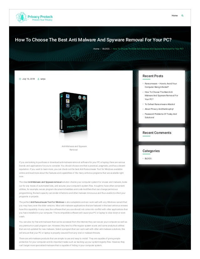 Best spyware removal tool | free trial download september 2018.