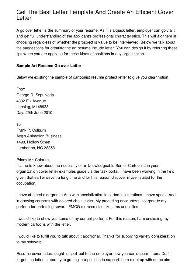 Get The Best Letter Template And Create An Efficient CoverLetterA Go Over  Letter Is The Summary ...  Resume And Cover Letter Template