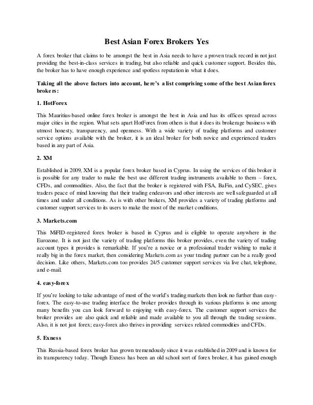 Asian forex brokers индикатор форекс для кпк и смартфона