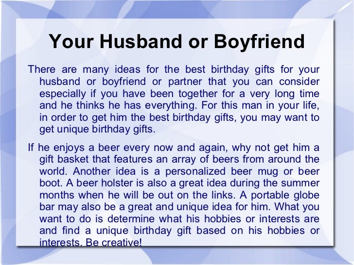 Your Husband Or Boyfriend There Are Many Ideas For The Best Birthday