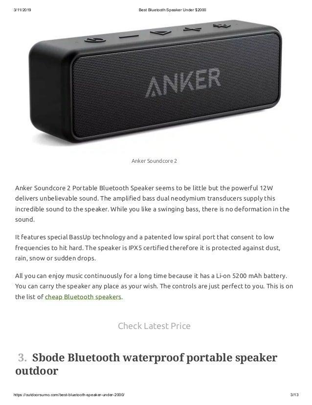 Best Bluetooth Speaker Under 2000 Portable Wireless Speaker