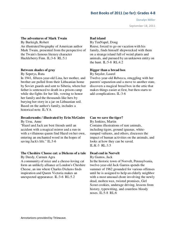 Best Books of 2011 (so far): Grades 4-8                                                                                   ...
