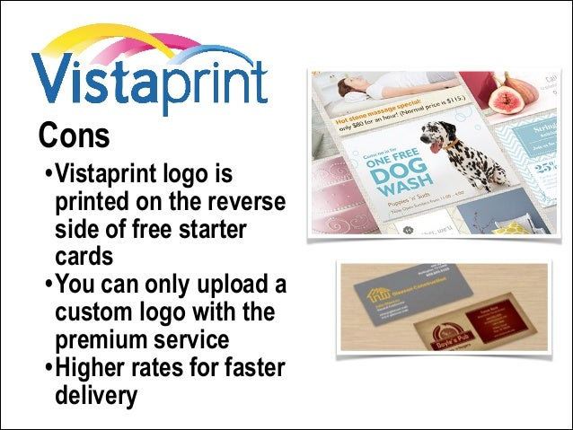 Where to get the best business cards for your budget customer support 13 cons vistaprint logo is printed on the reverse side of free starter cards reheart Gallery