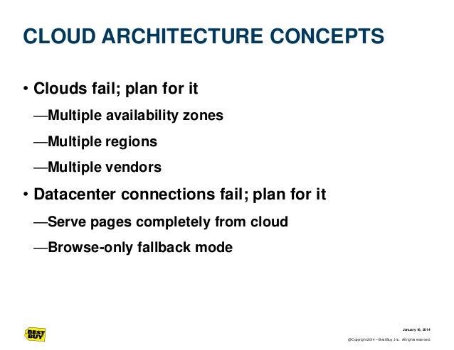 CLOUD ARCHITECTURE CONCEPTS • Clouds fail; plan for it —Multiple availability zones —Multiple regions —Multiple vendors  •...