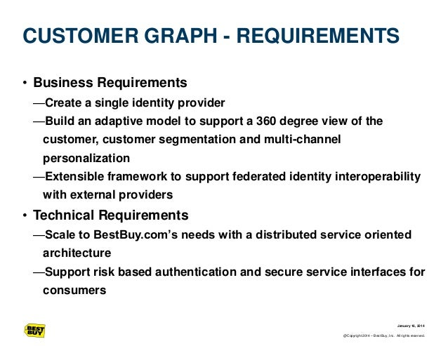 CUSTOMER GRAPH - REQUIREMENTS • Business Requirements —Create a single identity provider —Build an adaptive model to suppo...