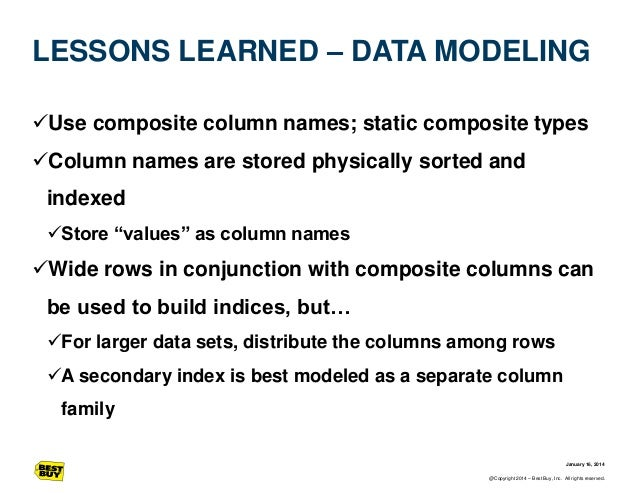 LESSONS LEARNED – DATA MODELING Use composite column names; static composite types  Column names are stored physically s...
