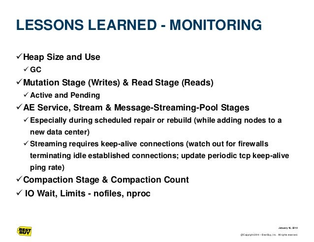 LESSONS LEARNED - MONITORING Heap Size and Use  GC  Mutation Stage (Writes) & Read Stage (Reads)  Active and Pending  ...