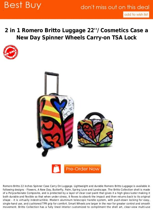 f6463b0cc .2 in 1 Romero Britto Luggage 22/ Cosmetics Case aNew Day Spinner Wheels  Carry ...
