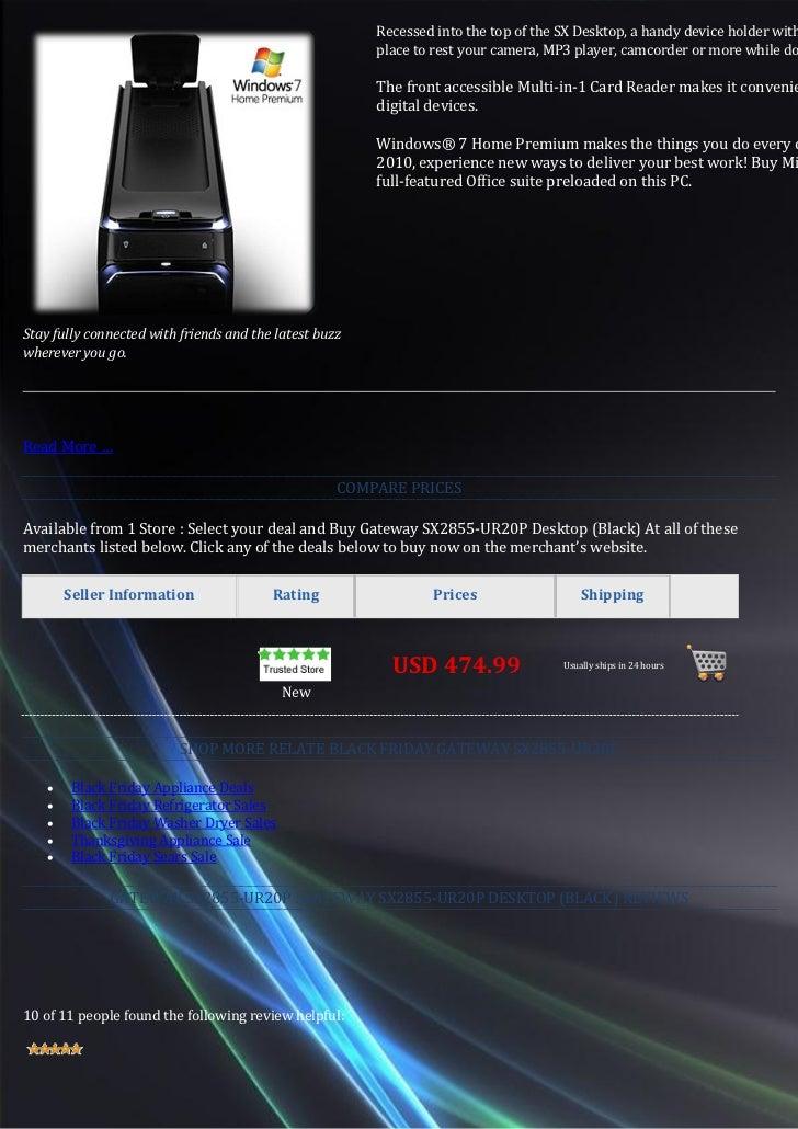 Best buy gateway sx2855 ur20 p black friday desktop ...