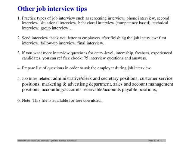 ... 10. Interview ...  Best Interview Answers