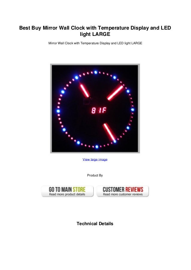 Best buy mirror wall clock with temperature display and led light lar best buy mirror wall clock with temperature display and ledlight largemirror wall clock with temperature display aloadofball Gallery